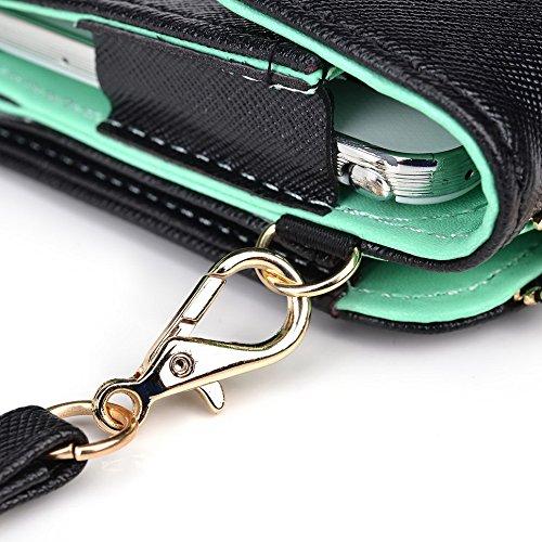 Kroo embrayage avec sangle de poignet et sangle de crossbody type portefeuille pour Samsung Galaxy Mega 6.3 multicolore noir et bleu Noir/vert