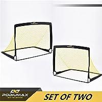 PodiuMax Portable Pop-up Fußballtore, 2er Set, langlebig & faltbare Fußballtor Net mit Tragetasche, gut für alle Altersgruppen Indoor / Outdoor-Training oder Team-Spiel