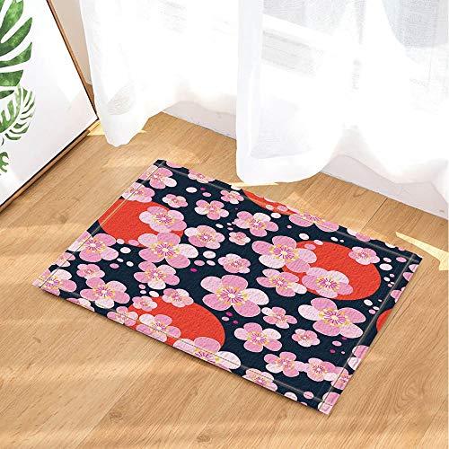 fuhuaxi Japanisches Kirschblüten-Muster auf Einem dunklen Hintergrund-Bad-Wolldecken-Rutschfeste Boden-Eingänge im Freien Innenhaustür-Matte 60X40CM Badematte-Badezimmer-Wolldecken