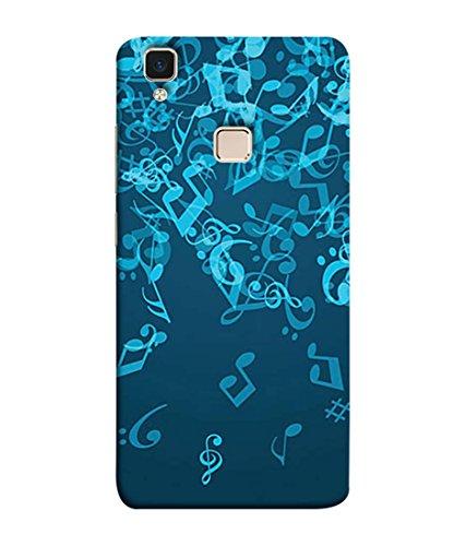 PrintVisa Designer Back Case Cover for VivoV3 (Musical notes shaded blue background)