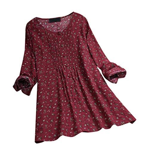 MRULIC Damen Langarm Shirt Beiläufige Lose Baumwolle Frühling Herbst Tops Solide Elegante T-Shirt (Teen M&m Red Tank Kleid)