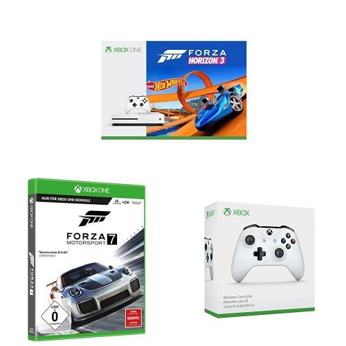 Xbox One S 500GB Konsole mit Forza Horizon 3 und Hot Wheels DLC + Forza Motorsport 7 + Wireless Controller