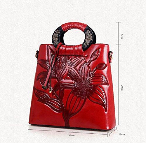 Chinesische Wind Geschnitzte Blumen Griff Geprägte Weibliche Handtasche Schultertasche Diagonale Paket Paket Mode Brown