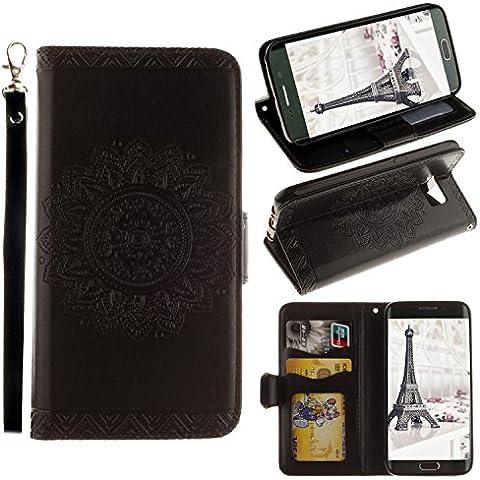 Funda Libro Samsung Galaxy S6 Edge,ZXK CO Caja de PU Leather Cuero para Samsung Galaxy S6 Edge Con Imán Ranura para Tarjeta de Crédito Diseñado Patrón de Flores Datura en Relieve Datura Tapa Trasera Con Cuerda Soporte de Telefóno Flip Cover Carcasa Case-Negro