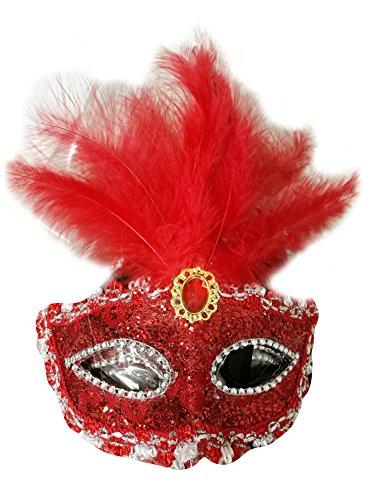 Venezianische Maske Rot mit Federn Damen Herren - perfekt für Fasching, Karneval & Maskenball - Kostüm für Erwachsene - Unisex Einheitsgröße (Venezianische Karnevalskostüme Männer)