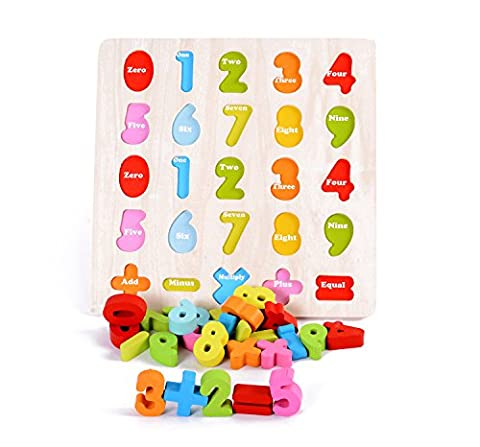Lewo Wooden Chunky Numbers Puzzle Board Educational Counting Toys