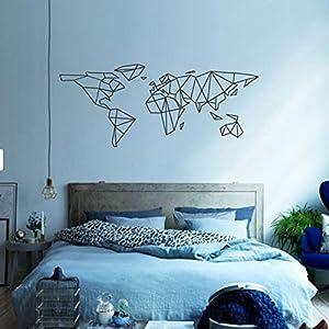 Pegatina mapa mundo geometrico para dormitorio salon cuartos de 140 x 57 cm de OPEN BUY