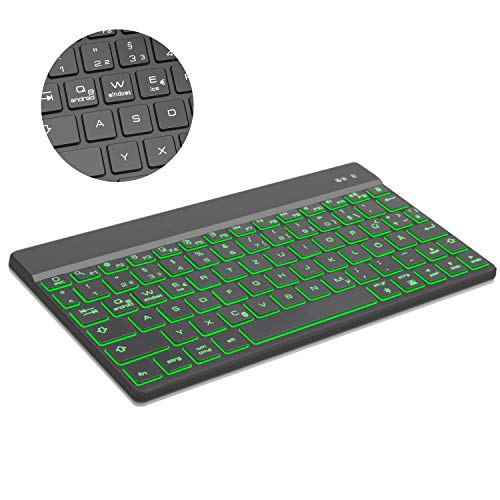 uetooth Tastatur Kompatibel mit Android, IOS, Windows, Mögen ipad, Samsung tab, Huawei und Surface, Deutsches Keyboard mit Hinterleuchtet - Schwarz ()