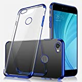 Uposao Kompatibel mit Xiaomi Redmi Note 5A Hülle Plating TPU Case mit Überzug Farbig Rahmen Hülle Transparent Slim Case Cover Durchsichtig Dünn Crystal Clear Silikon Handyhülle,Blau