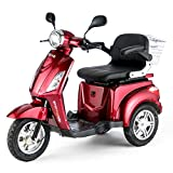 Moto eléctrica para personas mayores, con 3 ruedas, 25 km/h, color rojo