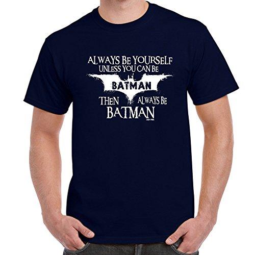 Jugend-navy S/s T-shirt (Herren Lustige Sprüche coole fun T Shirts-Always Be Batman tshirt-Navy Blue-XX-Large)