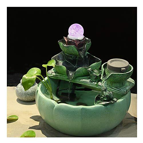 keoa fontana per interni, ornamenti feng shui con cascata in resina a led crystal ball e pomp a per decorazioni la casa(23 * 23 * 22cm),a