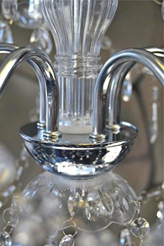 Weißer Kristallkronleuchter, 5 armig - 4