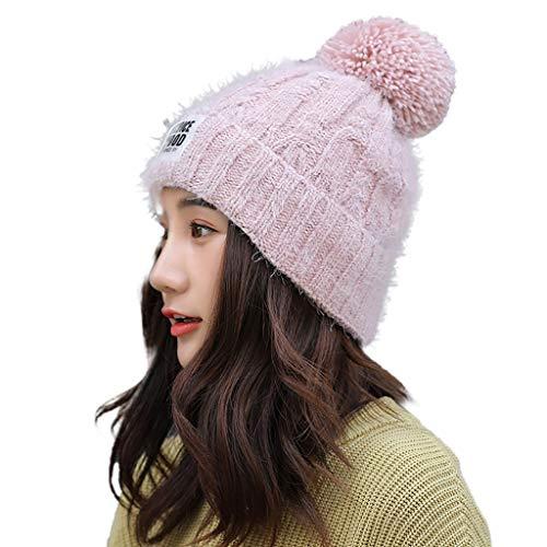 Fcostume Erwachsene Frauen Männer Winter Crochet Hat Strickmütze Einfarbig Hairball Warm Deckel (Rosa)