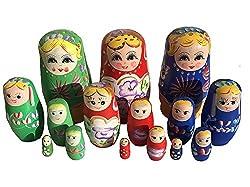 Set 3 Stück Russische Puppen Grün Rot Blau Matruschka Matroschka Jeweils 5-teilig Von Meierle & Söhne