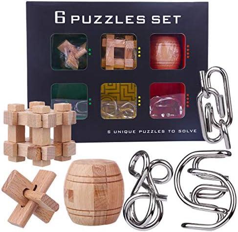 Tosbess Lot de 6 Casse-tête en Métal Puzzle 3D Bois Brainteaser Bois 3D Jeux Logiques Calendrier de L'Avent Jouet Intellectuel pour Adulte et  s 33f315