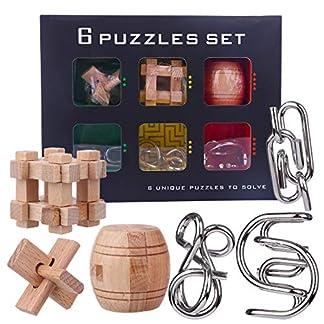 Yvsoo Calendario Adviento Juguetes Set,3Pcs Rompecabezas Metal + 3Pcs Rompecabezas Madera Puzzle 3D Juegos de Habilidad para Niños y Adultos