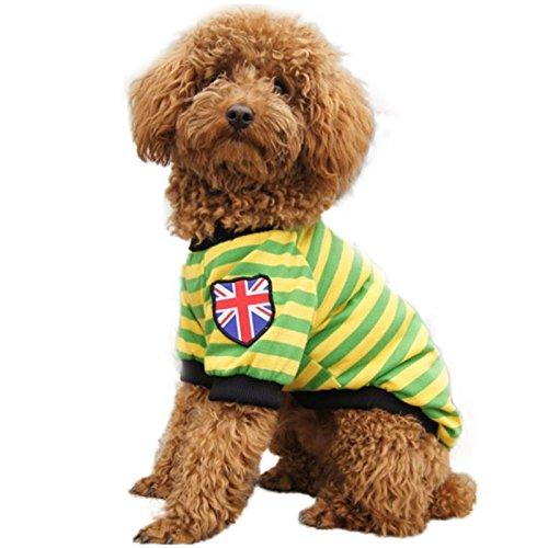 (KINGDUO Haustier Hund Katze Gestreifte Kleidung T-Shirt Pet Bekleidung Weste Winter Frühling Pet Customes 3 Farben-Grün-S)