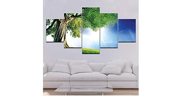 Lucellgh 5 Panel Malerei Druck Malerei Elementares Herz Rahmenlose Poster Schlafzimmer Studie Schlafsaal /Überdimensionale 5 Panel Dekorative Malerei 100Cmx55Cm