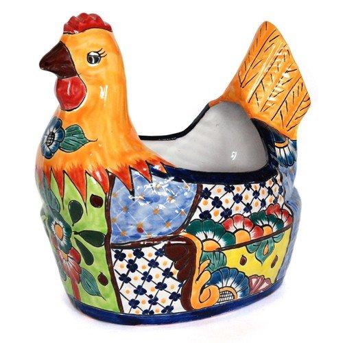Fair Trade | vaso pollo 35cm colorato | Talavera-keramik| Vasi Vaso per piante da commercio (Ceramica Talavera)