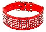 Berry Hundehalsband, 5,1 cm breit, mit 5 Reihen Strasssteine, PU-Leder, Glitzer-Haustier-Halsband