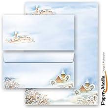 Paper-Media-Juego de 10hojas de papel de escritura con diseño de país de las maravillas de invierno y 10sobres DIN largo sin ventana