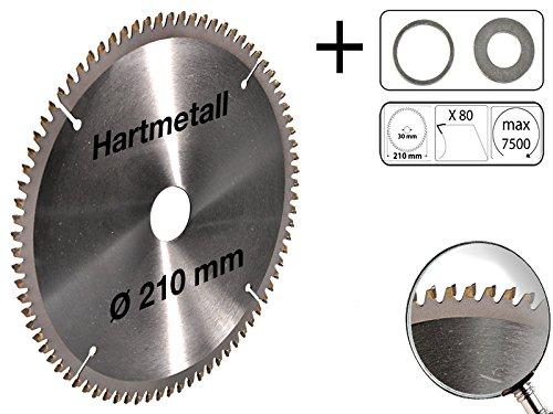 Kreissägeblatt für Alu Hartmetall 210 x 30 mm 80 Z + 2 Reduzierringe auf 25,4 und 16 mm