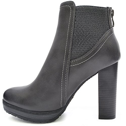 Kayla Shoes Chelsea Boots Plateau Stiefeletten mit Blockabsatz in Holzoptik (40, Dunkel Grau)