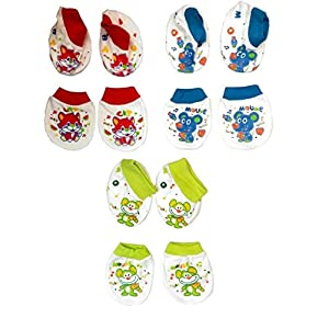 Baby Station Mittens and Booties 3 Pair Set (Color May Vary )