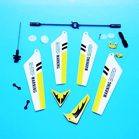Full Replacement Parts Set for Syma S107 / S107G RC Helicopter, Main Blades,Tail Decorations,Tail blade,Balance Bar,Connect Buckle, Inner Shaft. Yellow