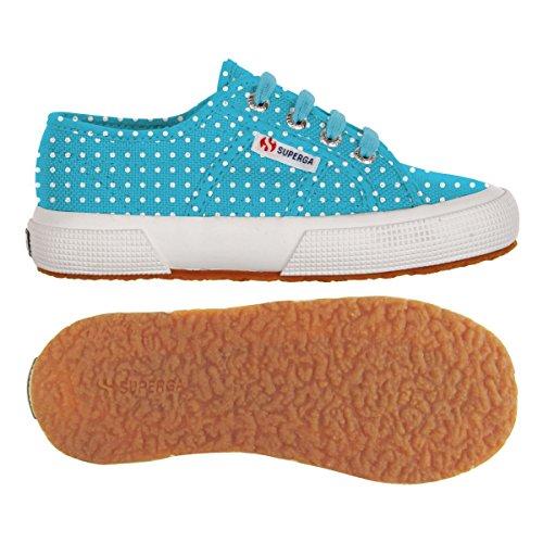 Superga 2750-FANTASY COTJ S001W90 Unisex-Kinder Sneaker Pois Turquoise-White