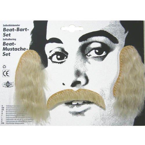 PARTY DISCOUNT Schnurrbart Beat-Bart-Set inkl Koteletten, blond
