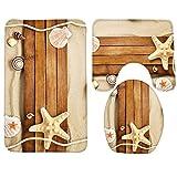 Fedso Badteppich, Strand, Meer Shell Badezimmer Teppich Teppich, Antirutschmatte 3-teiliges Badezimmer Set