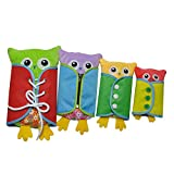 Per Apprentissage Peluche Jouet Educatif Apprentissage Lacets Zip Bouton Habiletés Conseil d'Apprentissage Set Multicolore Hibou 4pcs
