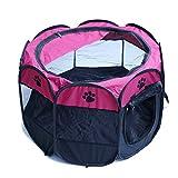 Kismaple Scatola Recinto Tenda POP-UP per Cagnolini Cuccioli e Piccoli Animali, Cuccia Pieghevole Salvaspazio da Viaggio, Recinzione per animali di Piccola Taglia (Rosa, S:72×72×45cm)