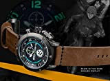 INFANTRY® Herren Analoges Quarzwerk Armbanduhr Edelstahl Leuchtend Outdoor Chronograph Echtleder Armband World Peacekeepers - 4