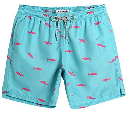 MaaMgic Herren Badehose Sommer Badeshorts für männer Jungen Badehose Schwimmhose Schnelltrocknend Kurz Vielfarbig Beachshorts MEHRWEG Hai Hellblau M