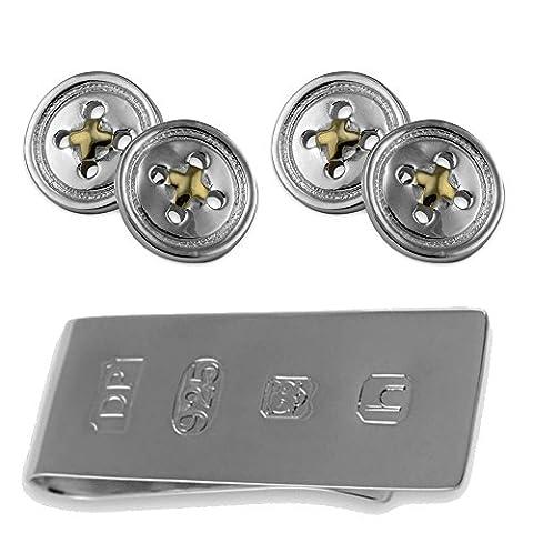 Sterling Silver Button Cufflinks with Gold Thread James Bond Money Clip Box Set