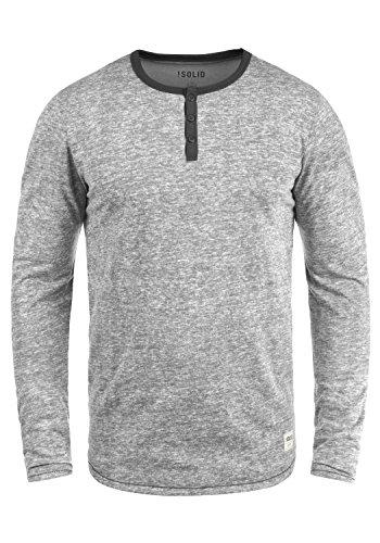 !Solid Telias Herren Longsleeve Basic Langarm-Shirt mit Grandad-Ausschnitt Aus Hochwertiger Baumwollmischung Meliert, Größe:XXL, Farbe:Mid Grey (2842) (Grandad-kragen-shirt)