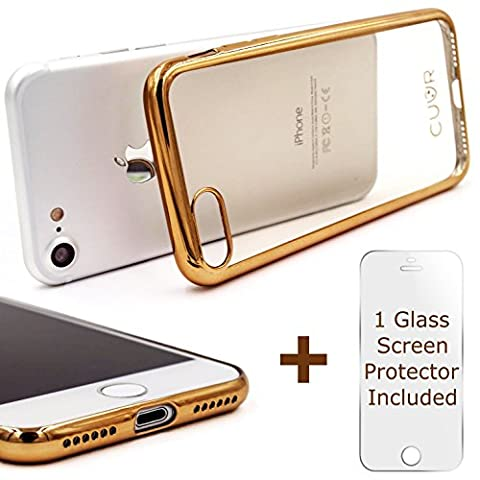 iPhone 7 Case Cover and Screen Protector by CUVR for Apple iPhone 7 (Gold)