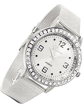 Lancardo Herren Damen silber Armbanduhr, Luxus Ultra dünnes Uhr Mesh Edelstahl Armband mit Strass Zifferblatt