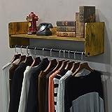 ZfgG Porte-manteau rétro en bois massif, étagère de rangement murale, vêtements, porte-baguettes, porte-combinaison, cintre, salon, chambre, porte-manteau, couloir, porte-manteau (Couleur: jaune, Tail