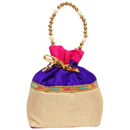 Bagaholics Ethnic Clutch Silk Potli Batwa Pouch Bag with Metal Beadwork (Purple)  available at amazon for Rs.199