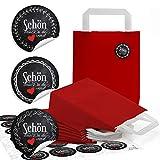 24 rote Kraftpapier Papiertüte Geschenktasche Henkel mit Boden 18 x 8 x 22 cm + 24 Aufkleber SCHÖN DASS DU DA WARST schwarz weiß Herz rot vintage Geschenke Verpackung zum Befüllen