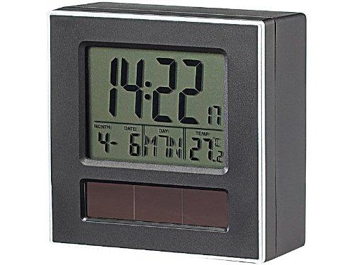 Infactory Despertador de la marca, solar, controlado por radio, DCM con termómetro y