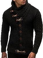 LEIF NELSON Men's Cardigan LN4195 - Black - Medium