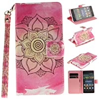 Huawei P8 Lite Case [with Free Tempered Glass Screen Protector], BoxTii® Elegant Leather Wallet Case [with Lanyard Strap/Rope] for Huawei P8 Lite, Premium Flip Wallet with Card-Slot Kickstand and Magnetic Clip, Book Style Design Protective Folder Case Cover for Huawei P8 Lite (#3 Pink)