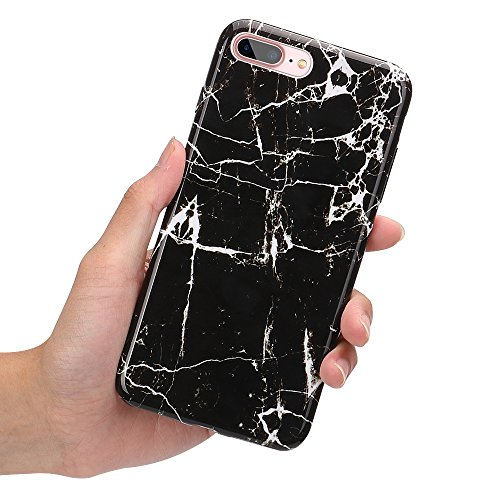 iPhone 8 Plus Fall, iPhone 7 Plus Fall, Kamii Marmor Serie Slim Fit Kratzfest Weich TPU Gummi Silikon Flexibel dünn Back Schutzhülle für Apple iPhone 7 Plus/8 Plus (14 cm), Schwarz Series Screen Protector Kit