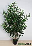 Decovego Kirsch Lorbeer Kirschlorbeer Kunstpflanze Kunstbaum Künstliche Pflanze mit Naturholz 120cm