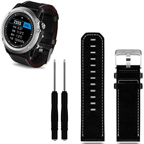 Armbanduhr Band Leder, happytop 27mm Armband Armband Handgelenk Gurt Uhren Ersatz mit Werkzeug für Garmin Fenix 3 S schwarz (Id Golf Nike)